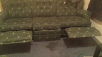 Green Lazy boy recliner couch and love seat
