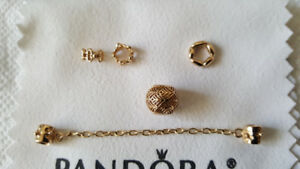 PANDORA-14k gold Charm,spacers, safety chain