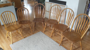 6 solid wood oak dining chairs
