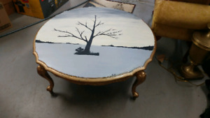 """36"""" round antique coffee table"""
