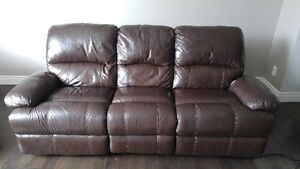 Genuine automatic reclining leather couch London Ontario image 1