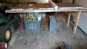 """3 HP 10"""" 220 volt Rockwell table saw with 52"""" Bisemeyer fence"""