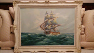 Antique listed Canadian artist ship oil painting