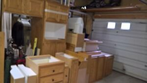 selection of used oak kitchen cabinets
