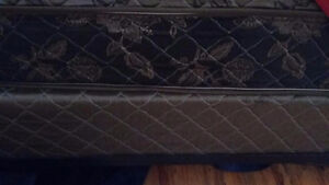 Q size mattress and box spring, bed frame & padded headboard