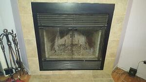 Foyer aux bois SB36 avec vitre et grille par étincelle et ventil