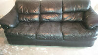Two (2) identical Full Size Genuine Leather Couches