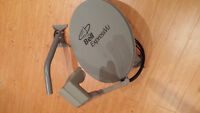 Bell satellite dish, twin LNB, cables to splitters and gear