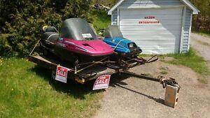 82 Yamaha Enticer 92 Ski Doo Safari and snowmobile trailer