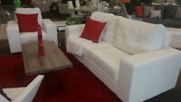 White Letherette Sofa & Chair