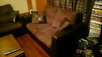 Dark brown + leather couch set!