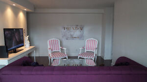 SOLD! Two custom made pink and white striped chairs Kitchener / Waterloo Kitchener Area image 4