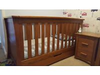 Mamas and Papas solid Oak Famiglia Nursery Furniture plus Rocking chair and foot stool.
