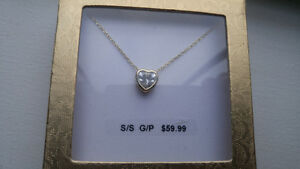 Brand new sterling silver gold plated necklace with pendant