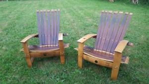 Oak Wine barrel Muskoka chairs/ Adirondack chairs