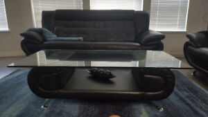 Black Leather Sofa/Couch Set - $650