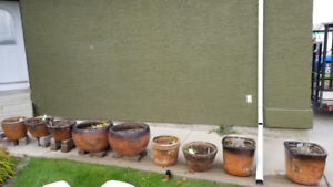 Collection of glazed garden pots