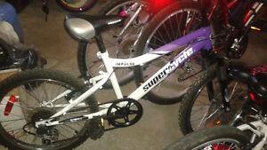 vélo mauve et blanc