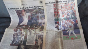 old newspaper-Mark McGwire Blasts Into History
