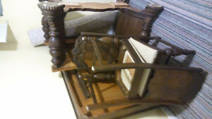 antique dining table and 5 chairs