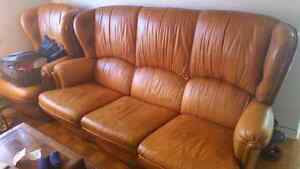 Italian leather couch set