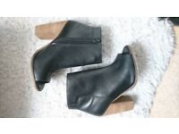 H&M Real Leather Black Block Heels/Boots