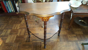 Beautiful antique small half-moon solid wood console table