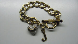 Juicy Couture starter charm bracelet with Puffy pave heart & 'J'