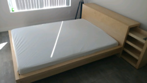Queen size bed frame with posture-pedic mattress