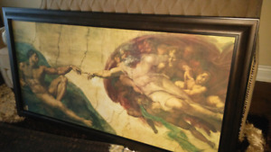 baby changing table / painting creation of adam with frame