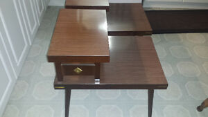 PAIR OF RETRO 50s TWO LEVEL END TABLES