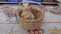 Avon - hoop earrings with bunny casing and basket