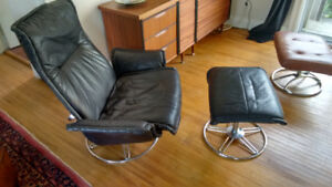 Danish Lounge Chair & Ottoman Black Leather & Chrome