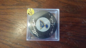 Autographed mr goalie glenn hall hof puck in case
