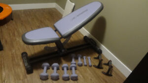 Reebok Tone Trainer Weight Bench w/4 Sets of Dumbells
