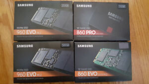"New open box SSDs M.2 2.5"" 250GB, 256GB, 480GB, 500GB, 512GB, 1T"