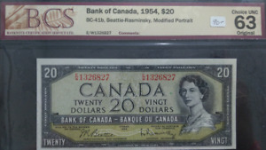 Canadian 1954  20 Dollars Bank Note