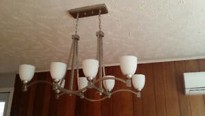 Large pewter colored metal light fixture