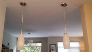 Pair of Contemporary Frosted and White Pendant lights
