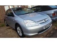 Honda Civic 1.4, 2003, silver, manual, 3 door, 72k, long mot, drives well,