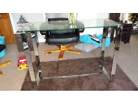 Glass and chrome console table and coffee table