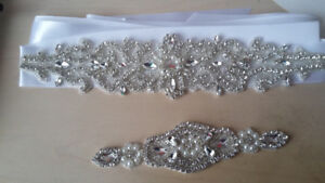 wedding dress cristal belt and sash- centure en cristale