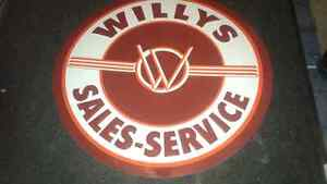 Willys Sales and Service Sign 2 foot across