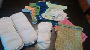 Flip cloth diapers, diaper covers, inserts, wet bads and sprayer