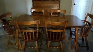 Solid Maple Yugo Table, Buffet and Hutch Plus Corner Cabinet