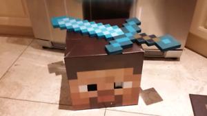 Minecraft Steve head with Diamond Armor Sword costume