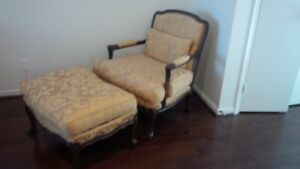 A BEAUTIFUL BERGERE CHAIR AND MATCHING OTTOMAN