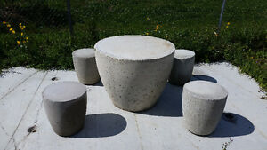 Concrete Drum Table and 4 drum stools sets for Sale