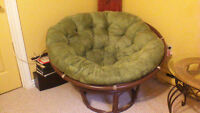 papasan chair with 2 cushions. (indoor and outdoor cushions)