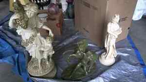 Variety of Antique Statues, Lamps, etc. For Sale